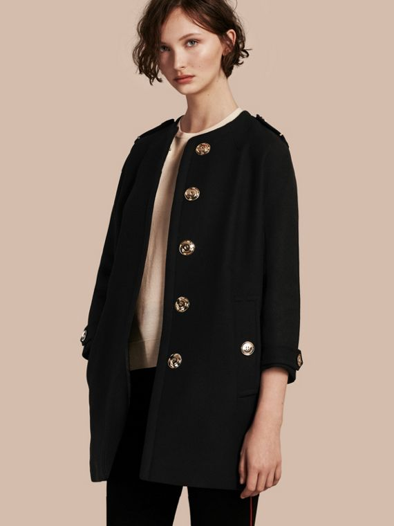 Technical Wool Cashmere Collarless Coat Black