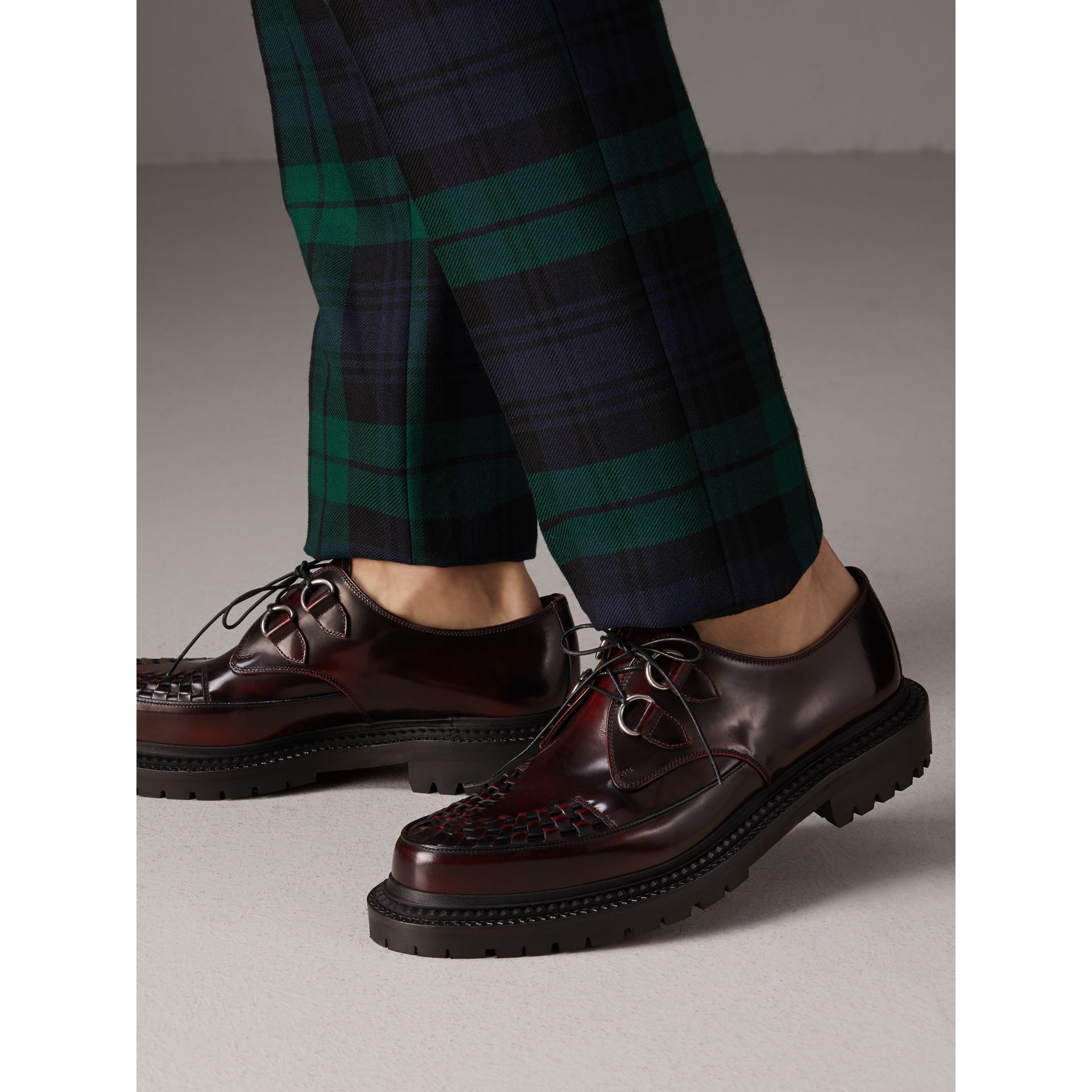 Woven-toe Leather Lace-up Shoes in Bordeaux - Men | Burberry - gallery image 2
