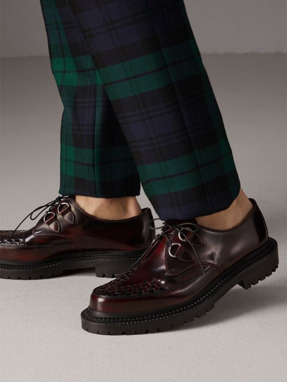Woven-toe Leather Lace-up Shoes in Bordeaux - Men | Burberry Australia - cell image 2