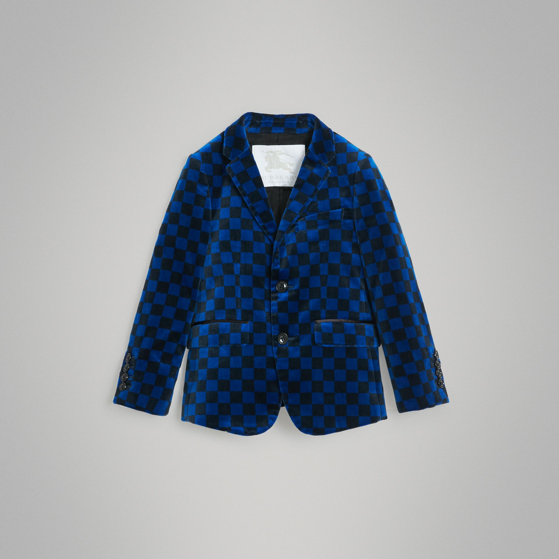 Chequer Stretch Velvet Jacket in Bright Blue | Burberry - gallery image 0