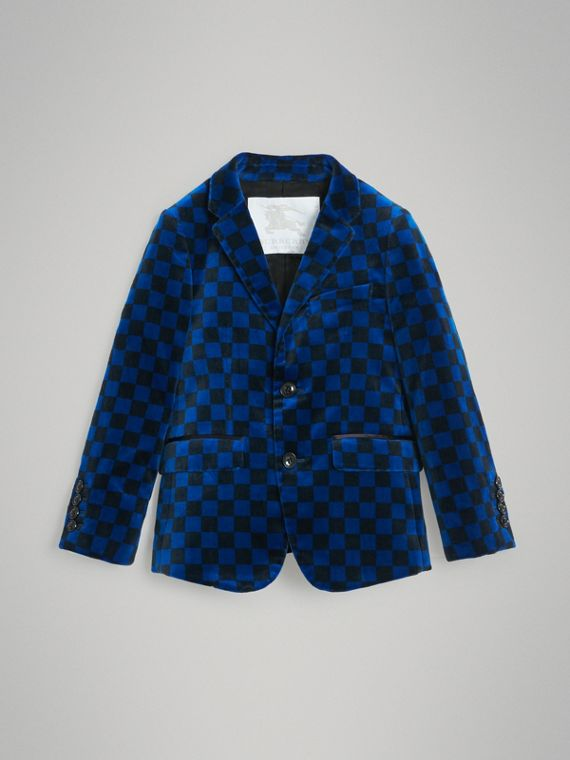 Chequer Stretch Velvet Jacket in Bright Blue