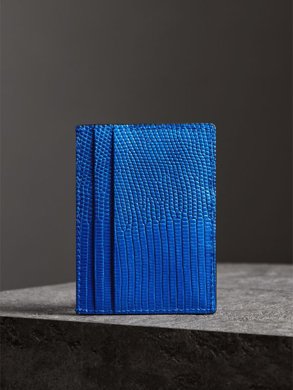 Lizard Card Case in Sapphire Blue | Burberry - cell image 2