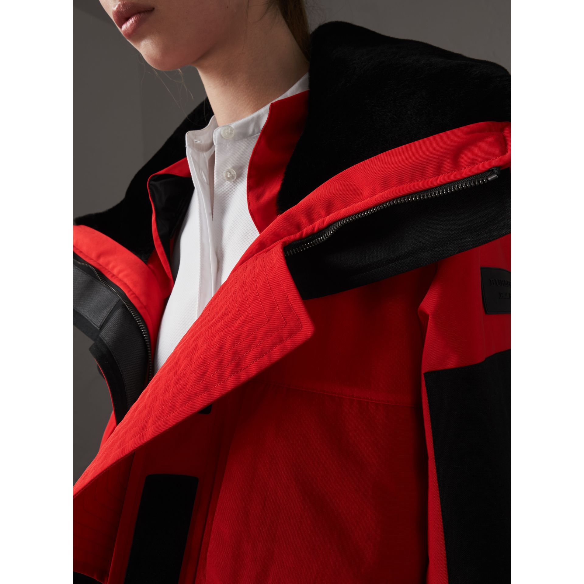 Showerproof Coat with Detachable Warmer in Bright Red - Women | Burberry United Kingdom - gallery image 7