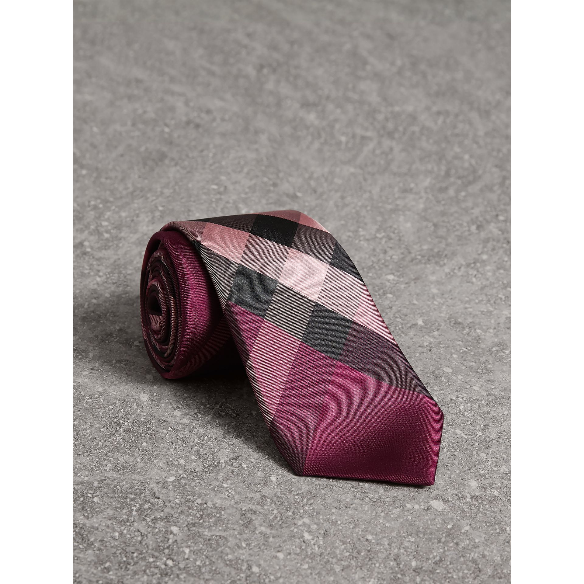 Modern Cut Check Silk Tie in Rose Pink - Men | Burberry - gallery image 1