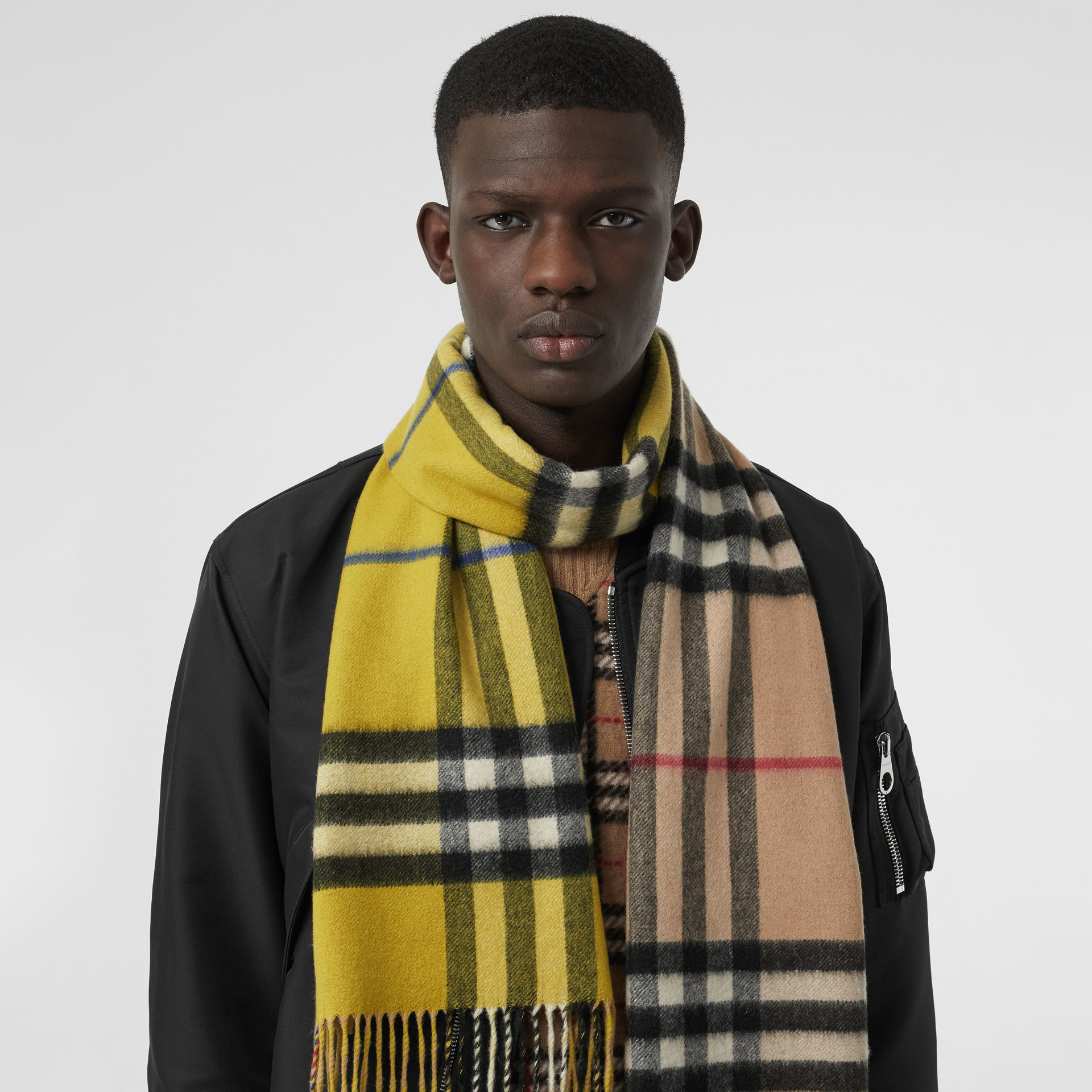 Long Reversible Check Double-faced Cashmere Scarf in Lime Citrine | Burberry Singapore - gallery image 6