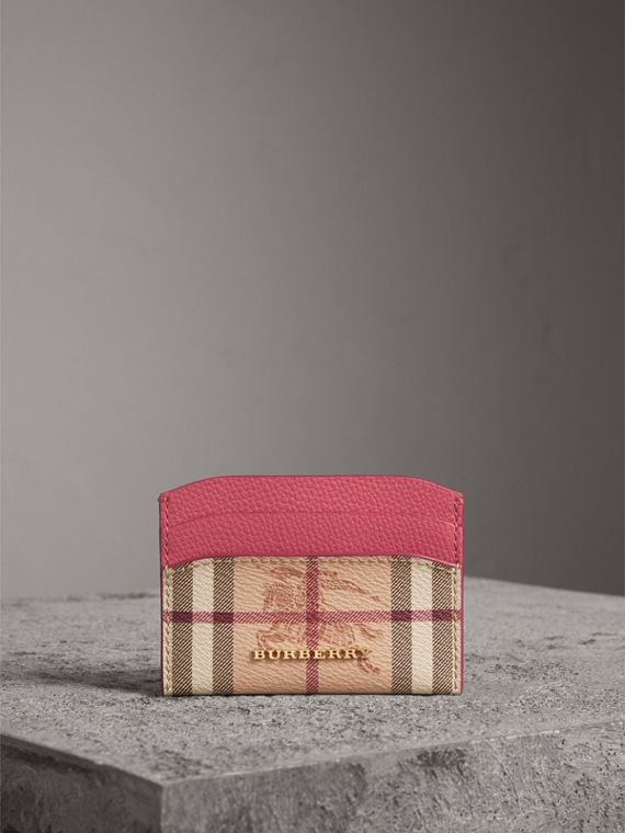 Haymarket Check and Leather Card Case in Plum Pink - Women | Burberry United Kingdom - cell image 3