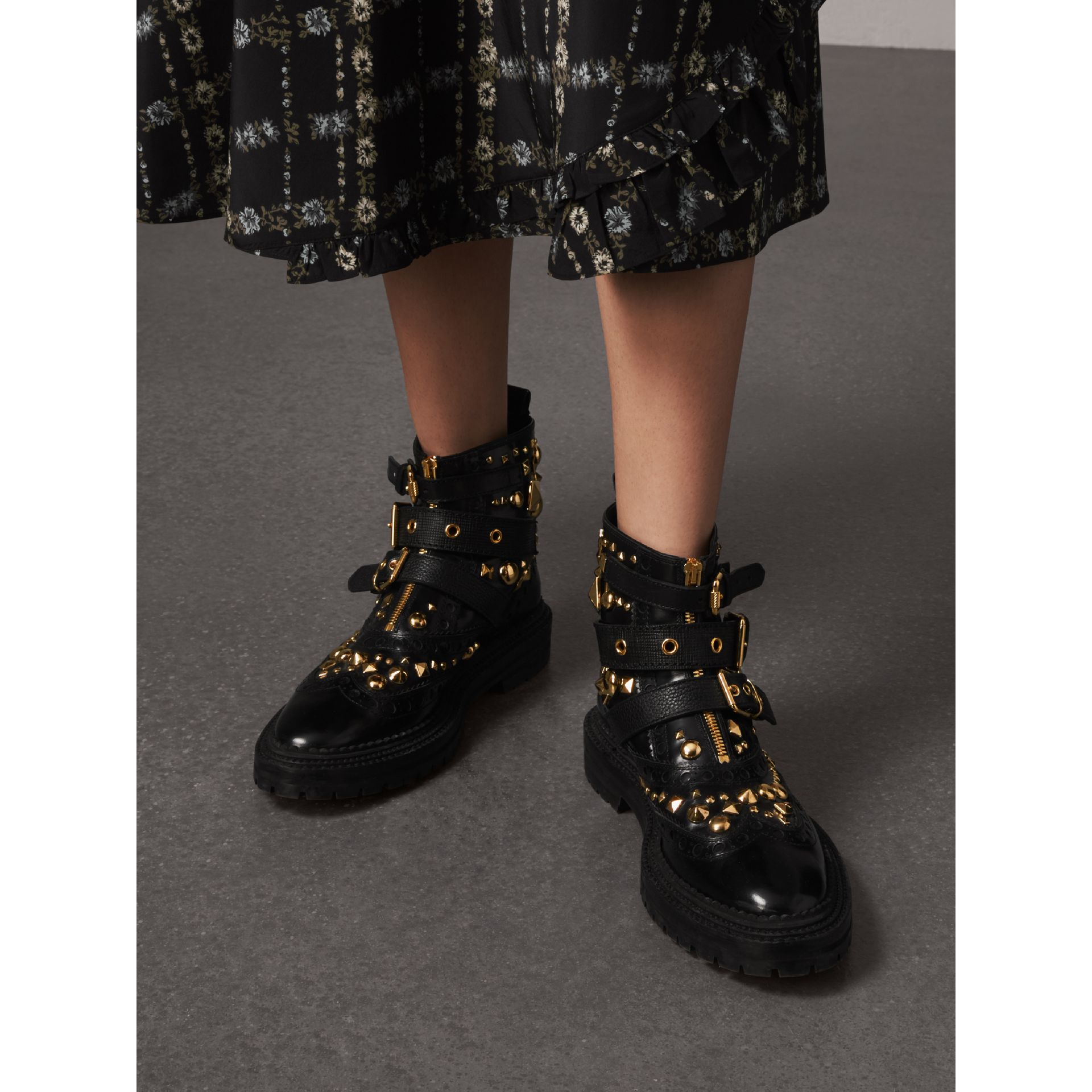 Studded Leather Brogue Ankle Boots in Black - Women | Burberry - gallery image 3