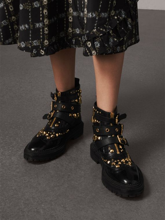 Studded Leather Brogue Ankle Boots in Black - Women | Burberry Singapore - cell image 2