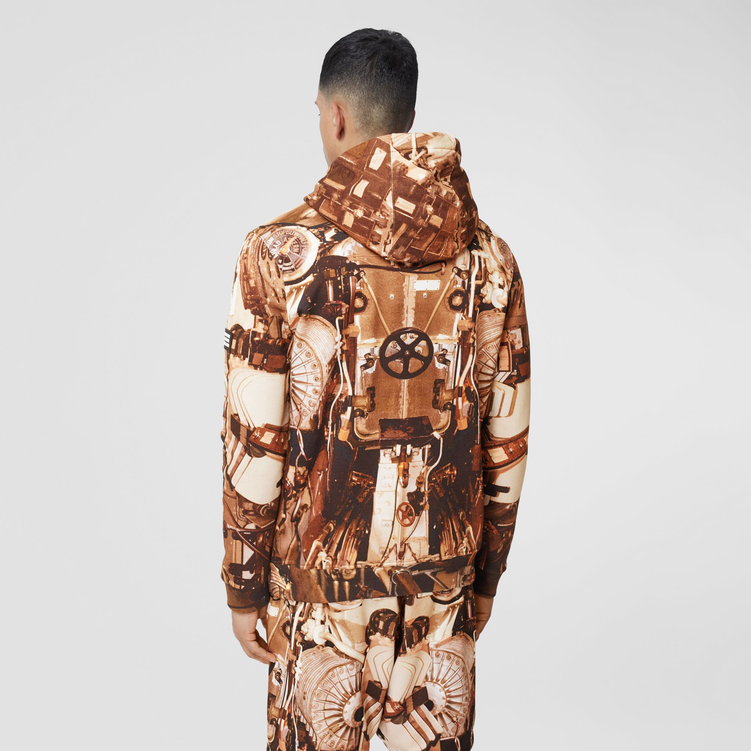 Submarine Print Cotton Hoodie in Bronze - Men | Burberry - 3