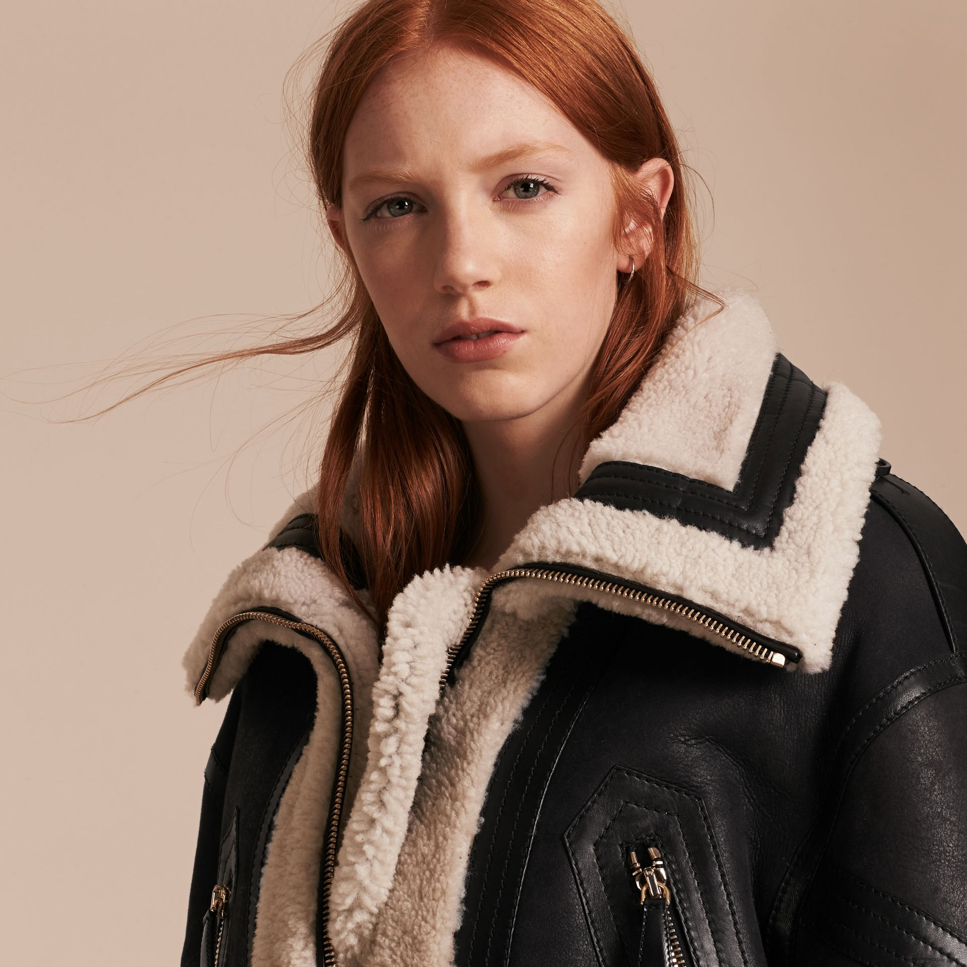 Black/ecru Shearling Aviator with Oversize Buckle Detail - gallery image 5