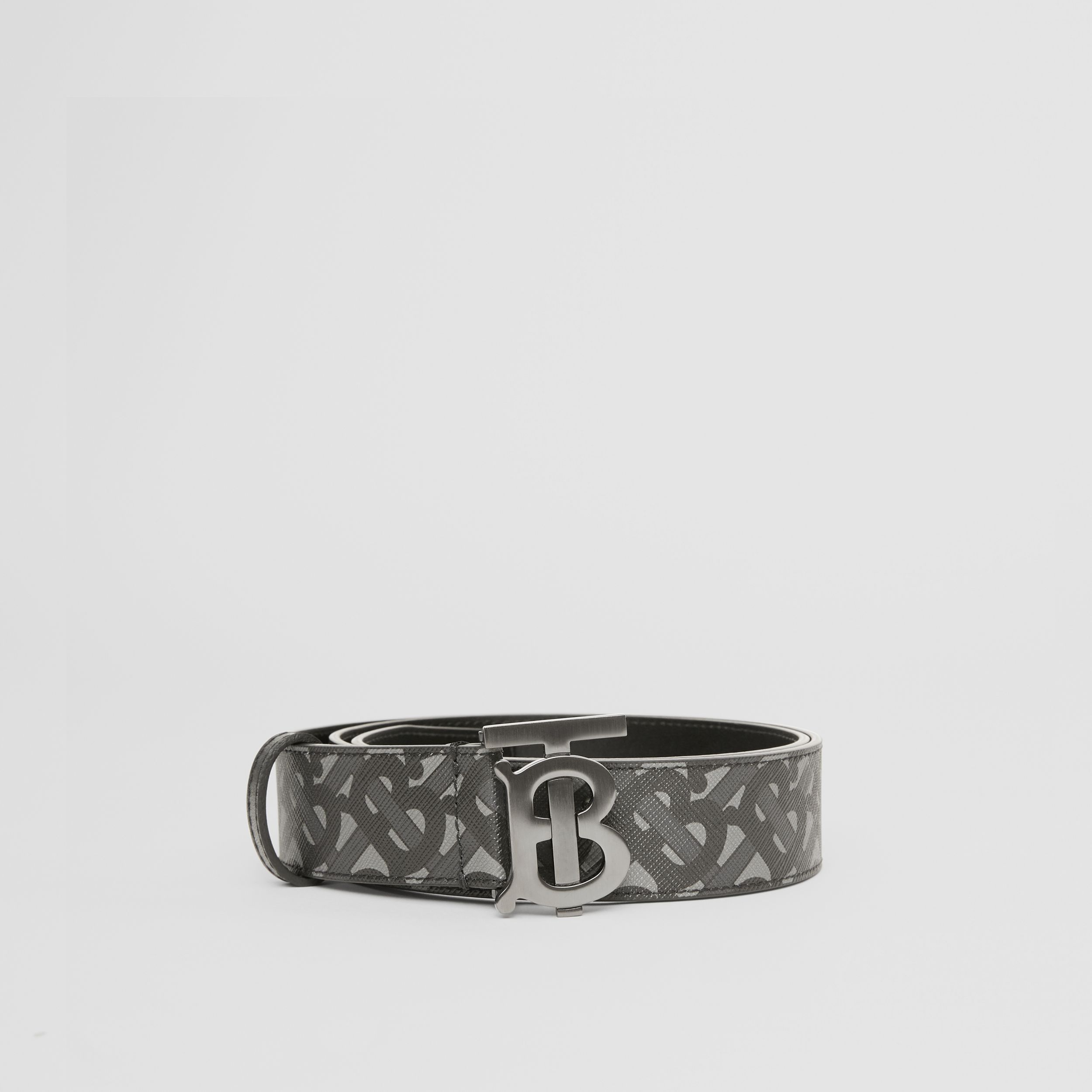 Monogram E-canvas and Leather Belt in Charcoal/black/dark Graphite - Men | Burberry - 4