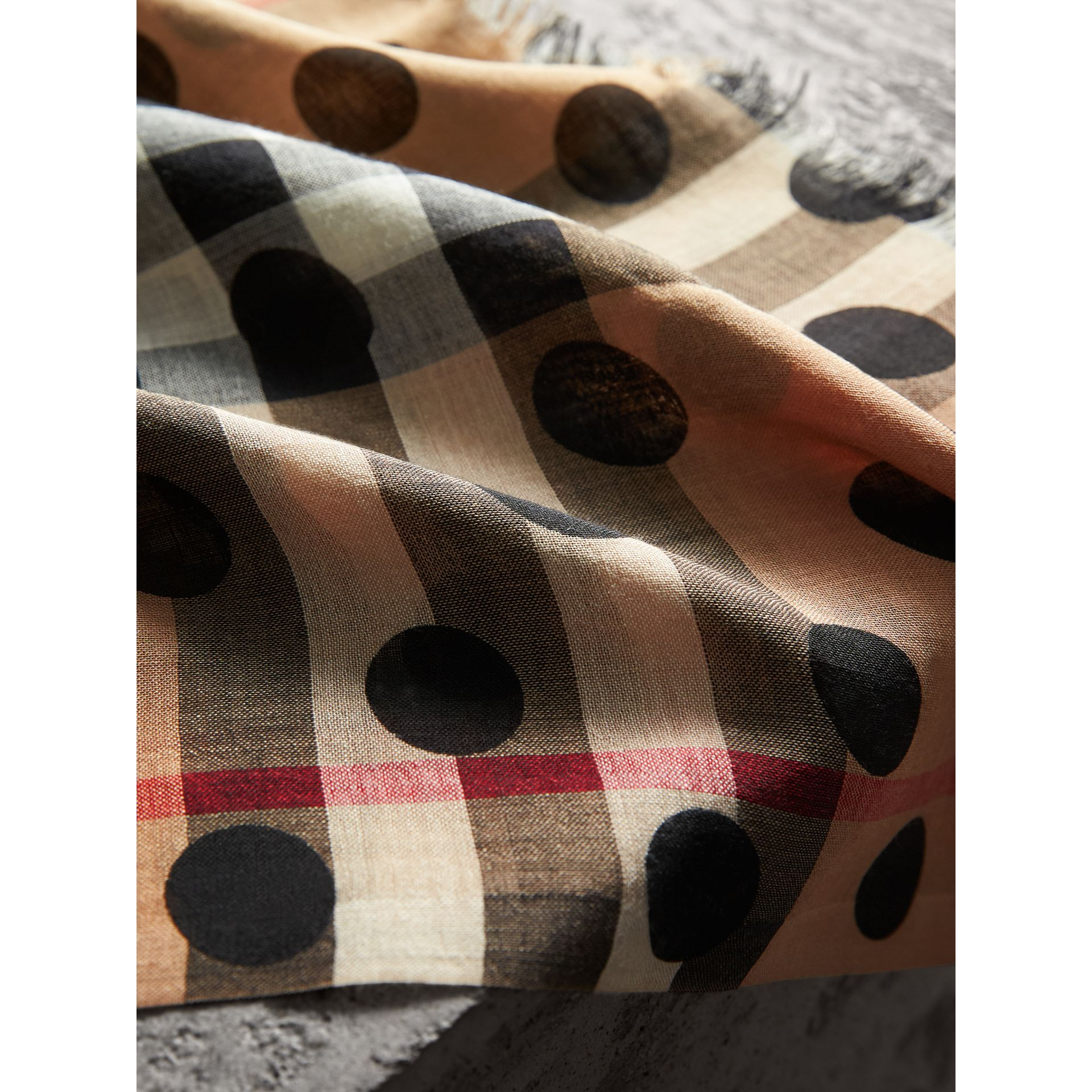 Spot Print and Check Lightweight Wool Silk Scarf in Black | Burberry - gallery image 2