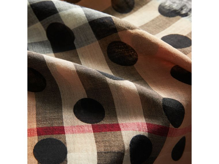 Spot Print and Check Lightweight Wool Silk Scarf in Black | Burberry - cell image 1