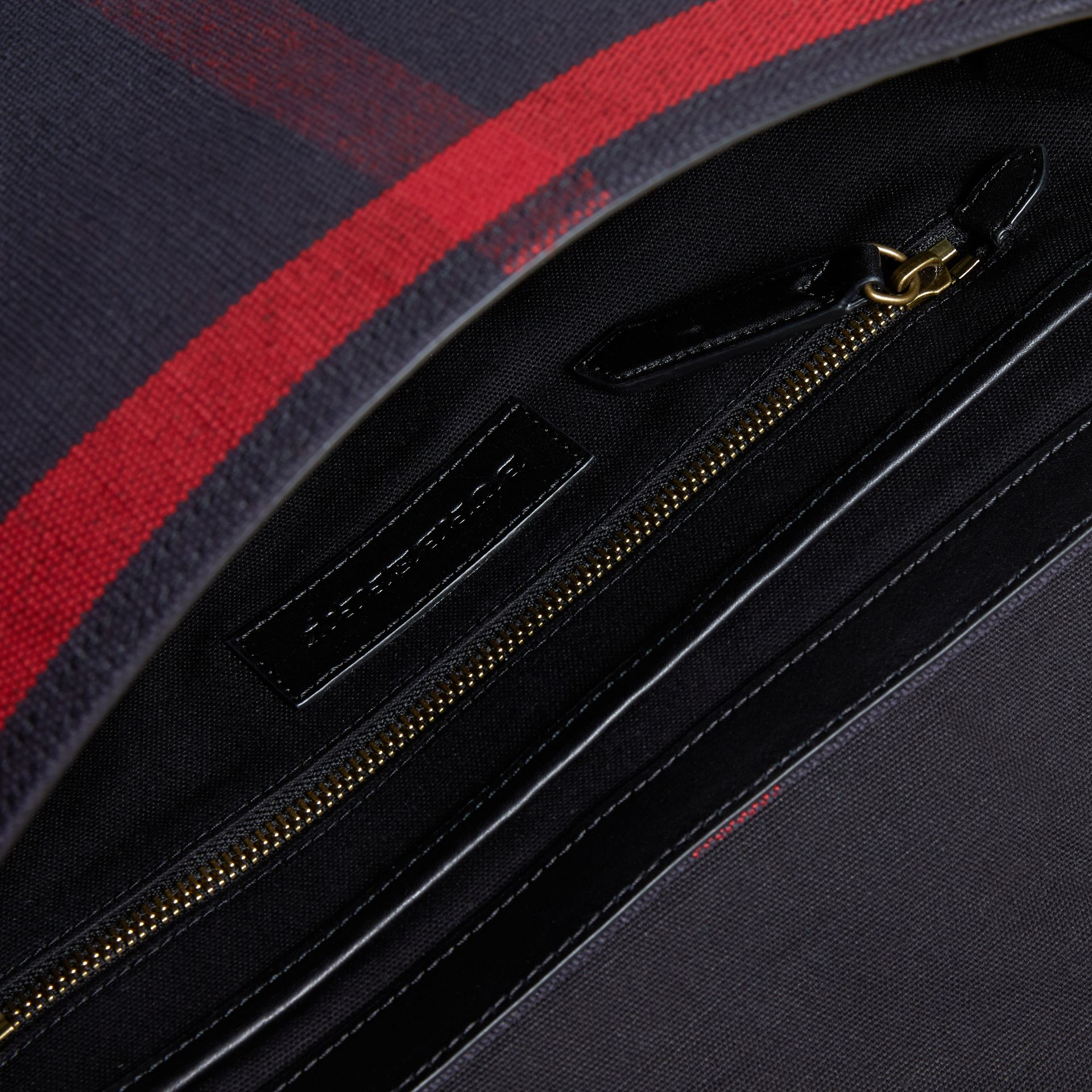 Medium Canvas Check Messenger Bag in Black - Men | Burberry - gallery image 5
