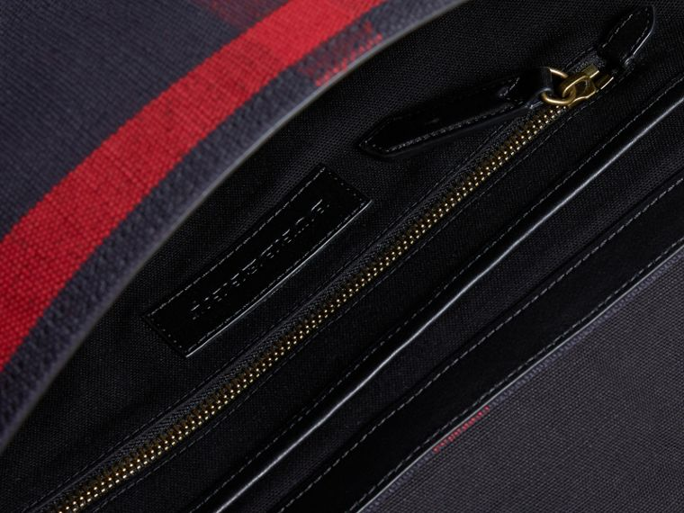 Medium Canvas Check Messenger Bag in Black - Men | Burberry - cell image 4