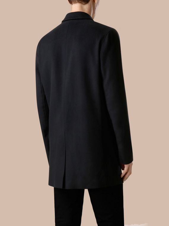 Navy Virgin Wool Cashmere Car Coat Navy - cell image 2
