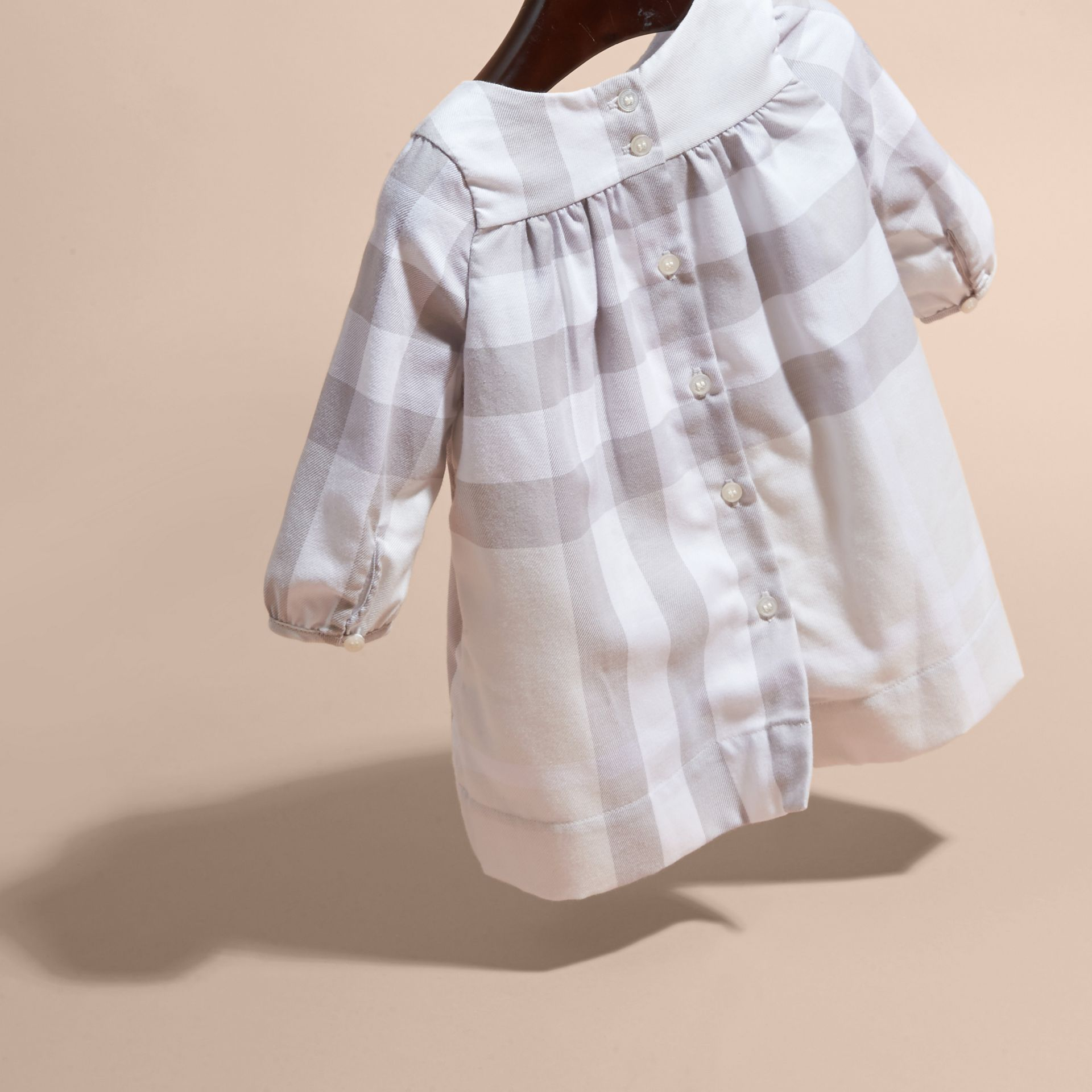 Pale grey Pintuck Detailed Washed Check Cotton Dress - gallery image 4