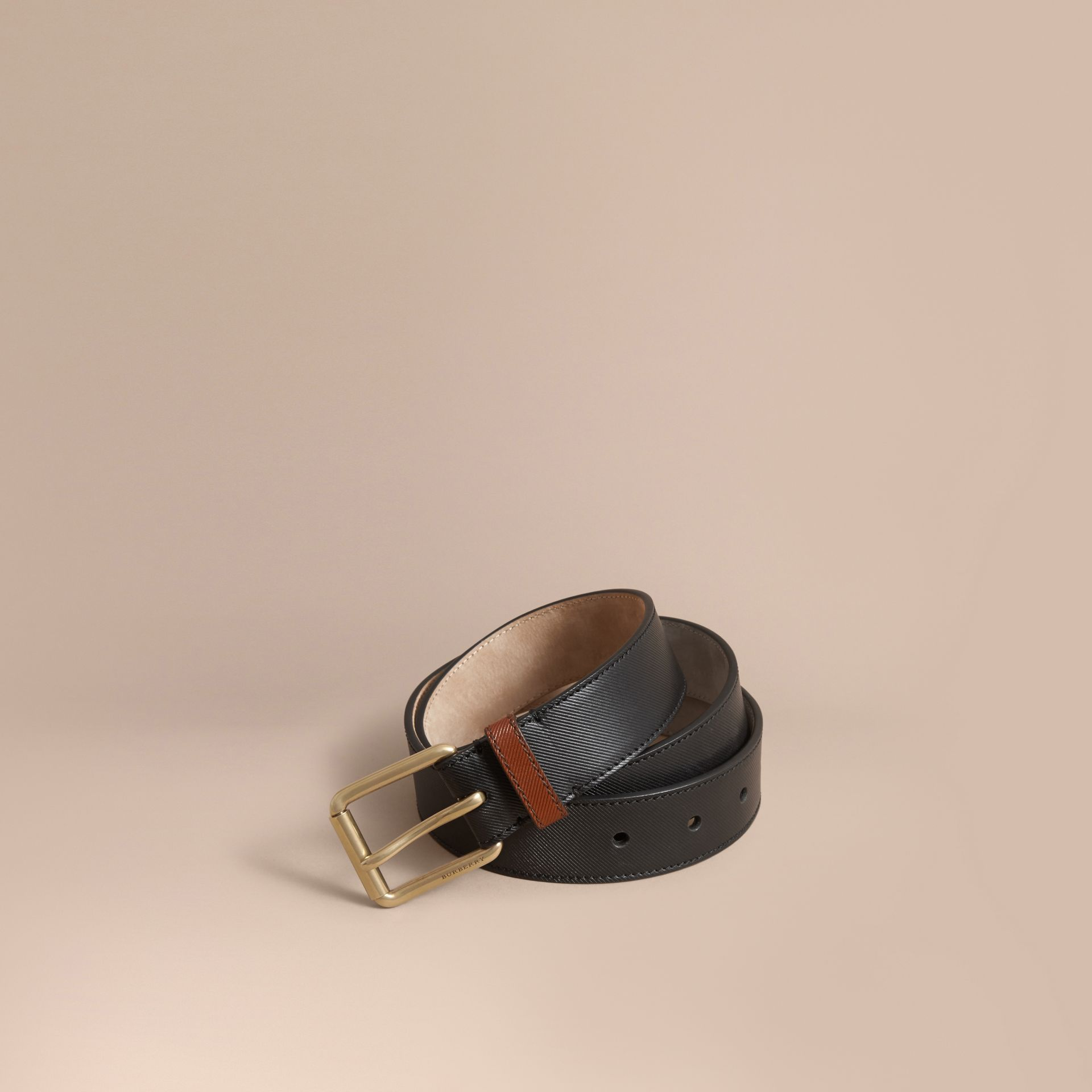 Two-tone Trench Leather Belt Black - gallery image 1