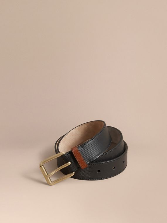 Two-tone Trench Leather Belt Black