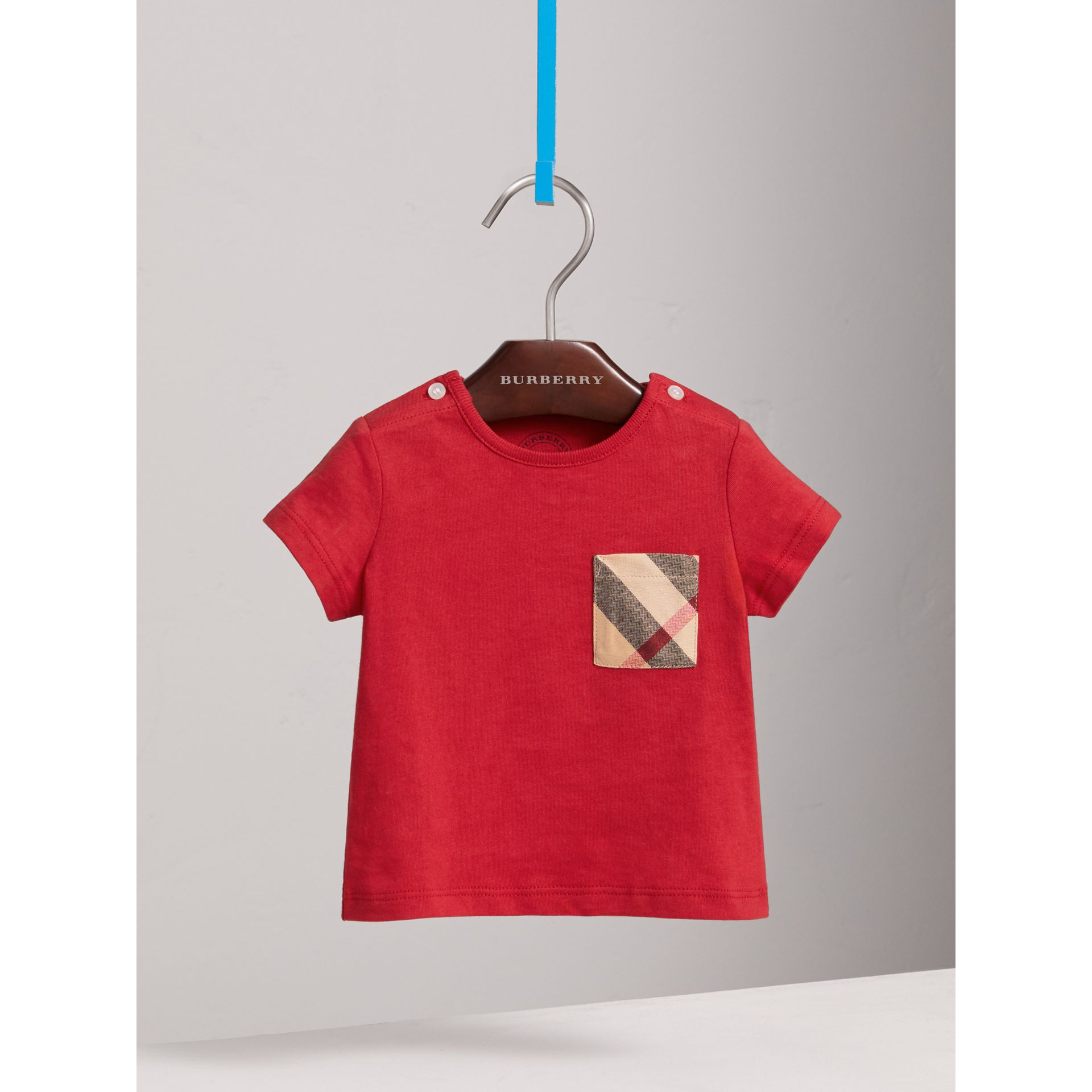 Check Pocket Cotton T-shirt in Military Red | Burberry - gallery image 3
