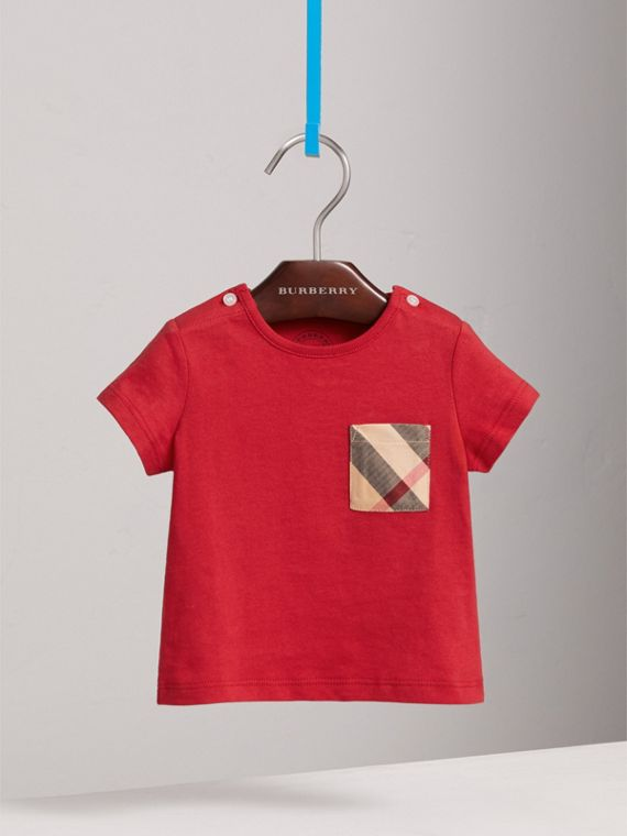 Check Pocket Cotton T-shirt in Military Red | Burberry Canada - cell image 2