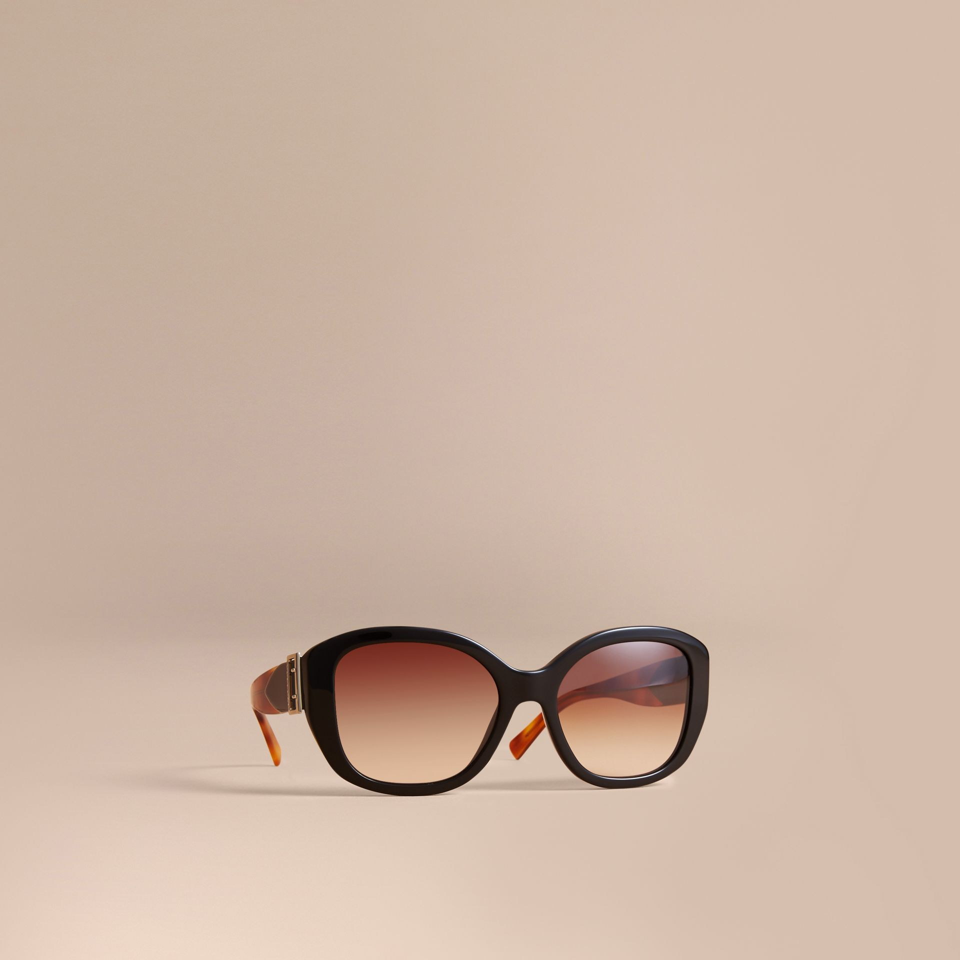 Buckle Detail Oversize Square Frame Sunglasses in Black - Women | Burberry Australia - gallery image 0