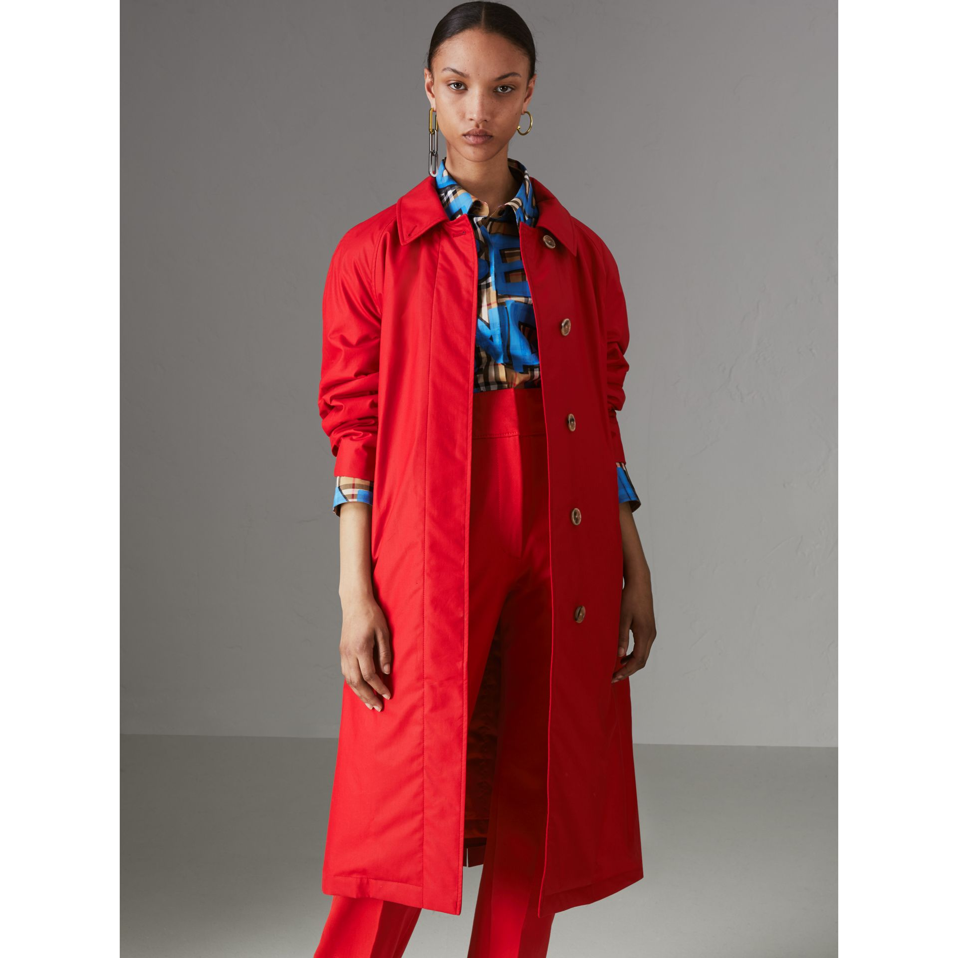 Oversized Cotton Car Coat in Parade Red - Women | Burberry - gallery image 4