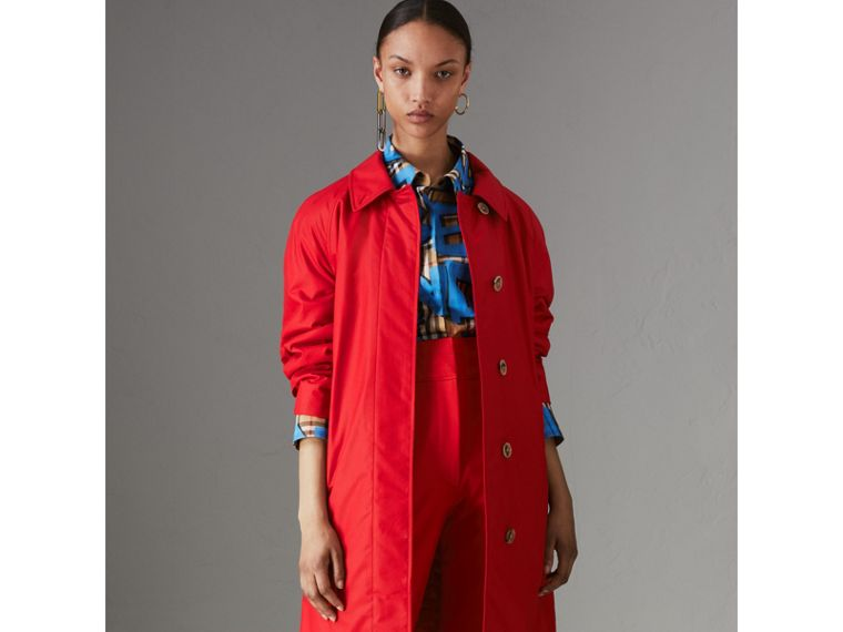 Oversized Cotton Car Coat in Parade Red - Women | Burberry - cell image 4