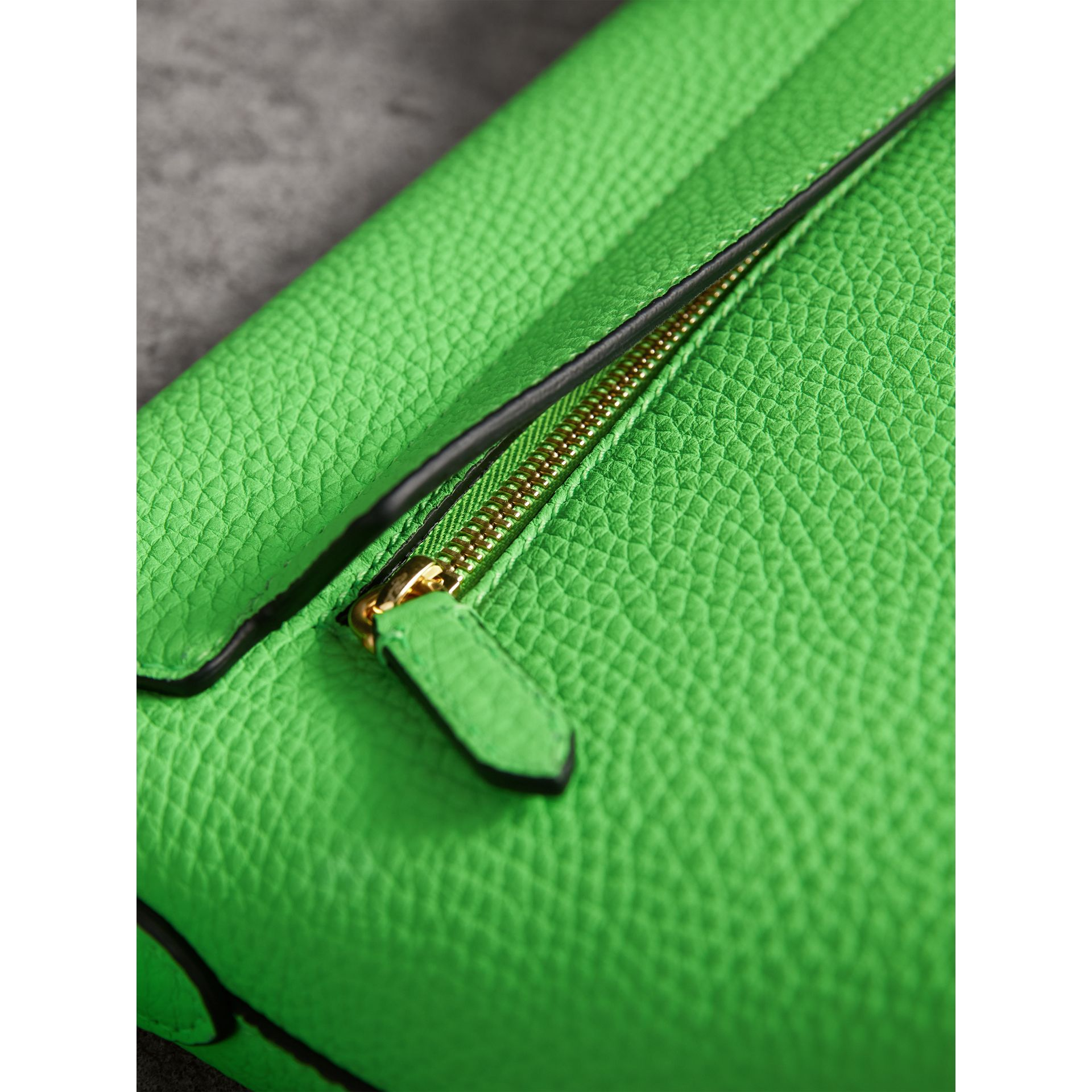 Small Embossed Neon Leather Messenger Bag in Green | Burberry - gallery image 6