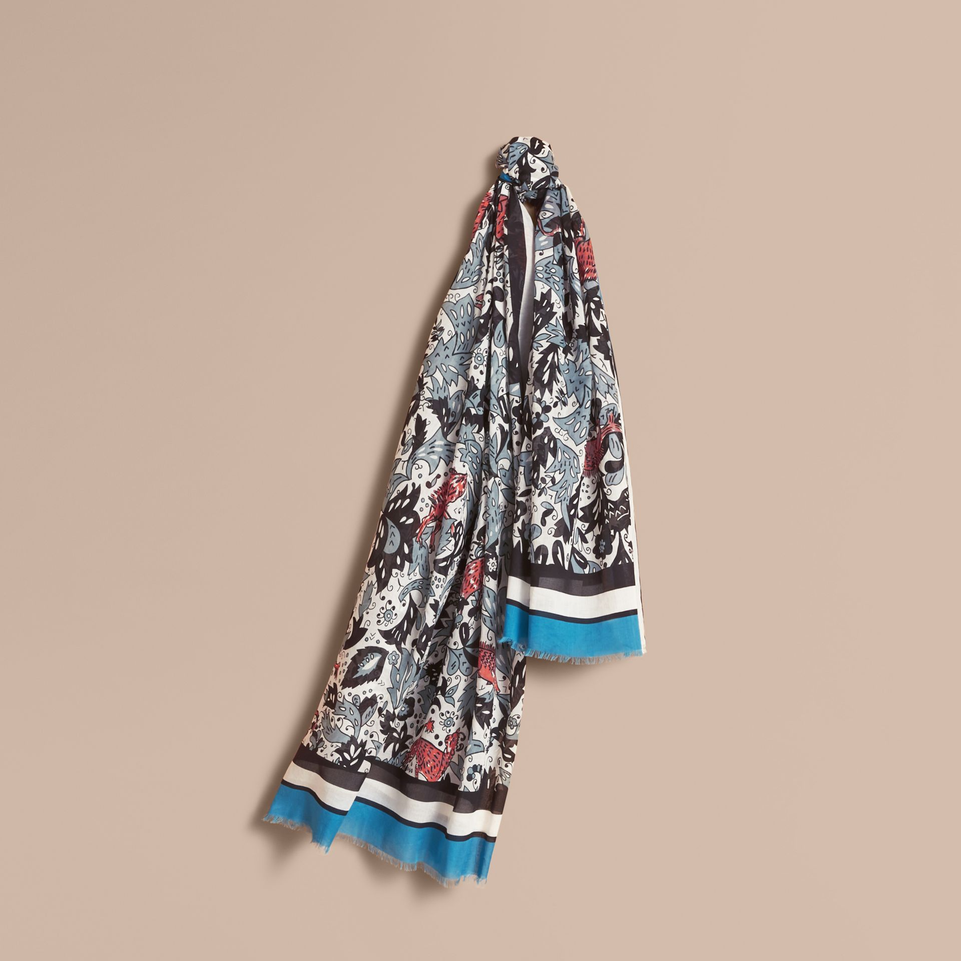 Beasts Print Lightweight Cotton Scarf in Pale Blue Carbon - Women | Burberry - gallery image 1