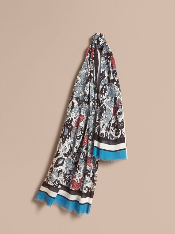 Beasts Print Lightweight Cotton Scarf in Pale Blue Carbon - Women | Burberry