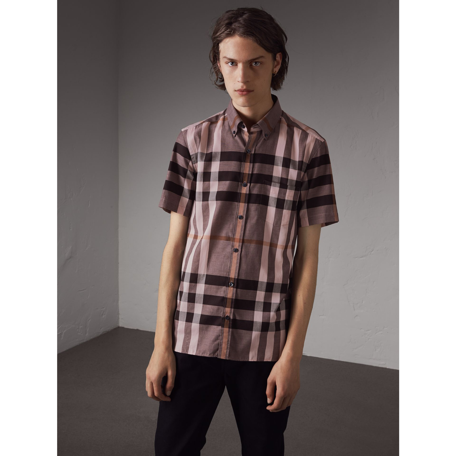 Button-down Collar Short-sleeve Check Cotton Shirt in Antique Rose - Men | Burberry - gallery image 1