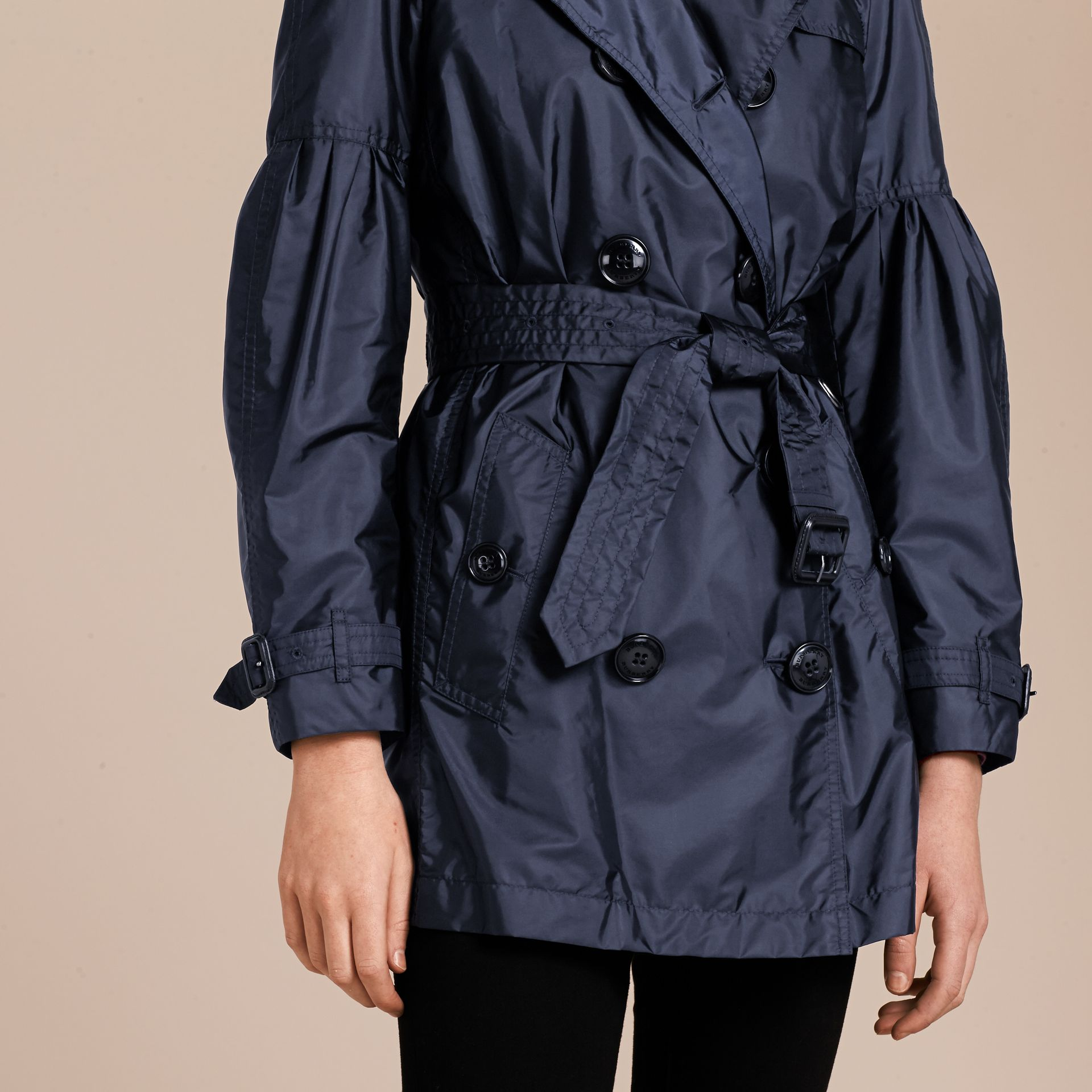 Navy Packaway Trench Coat with Bell Sleeves Navy - gallery image 5