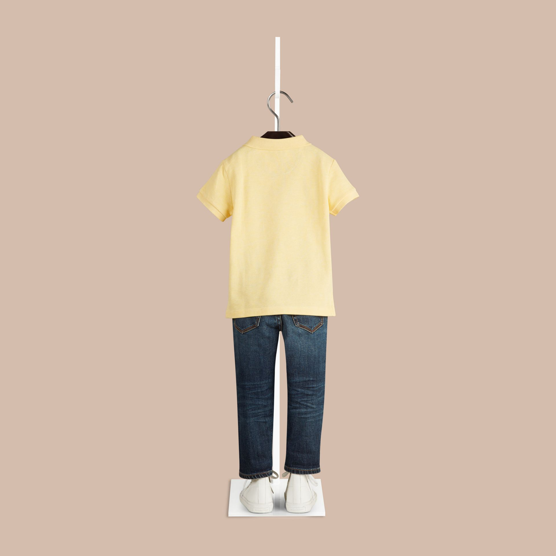 Camomile yellow melange Check Placket Polo Shirt Camomile Yellow Melange - gallery image 2