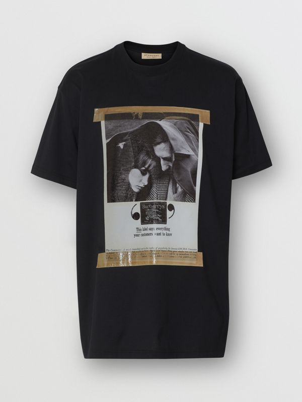 Archive Campaign Print Cotton T-shirt in Black - Men | Burberry - cell image 3