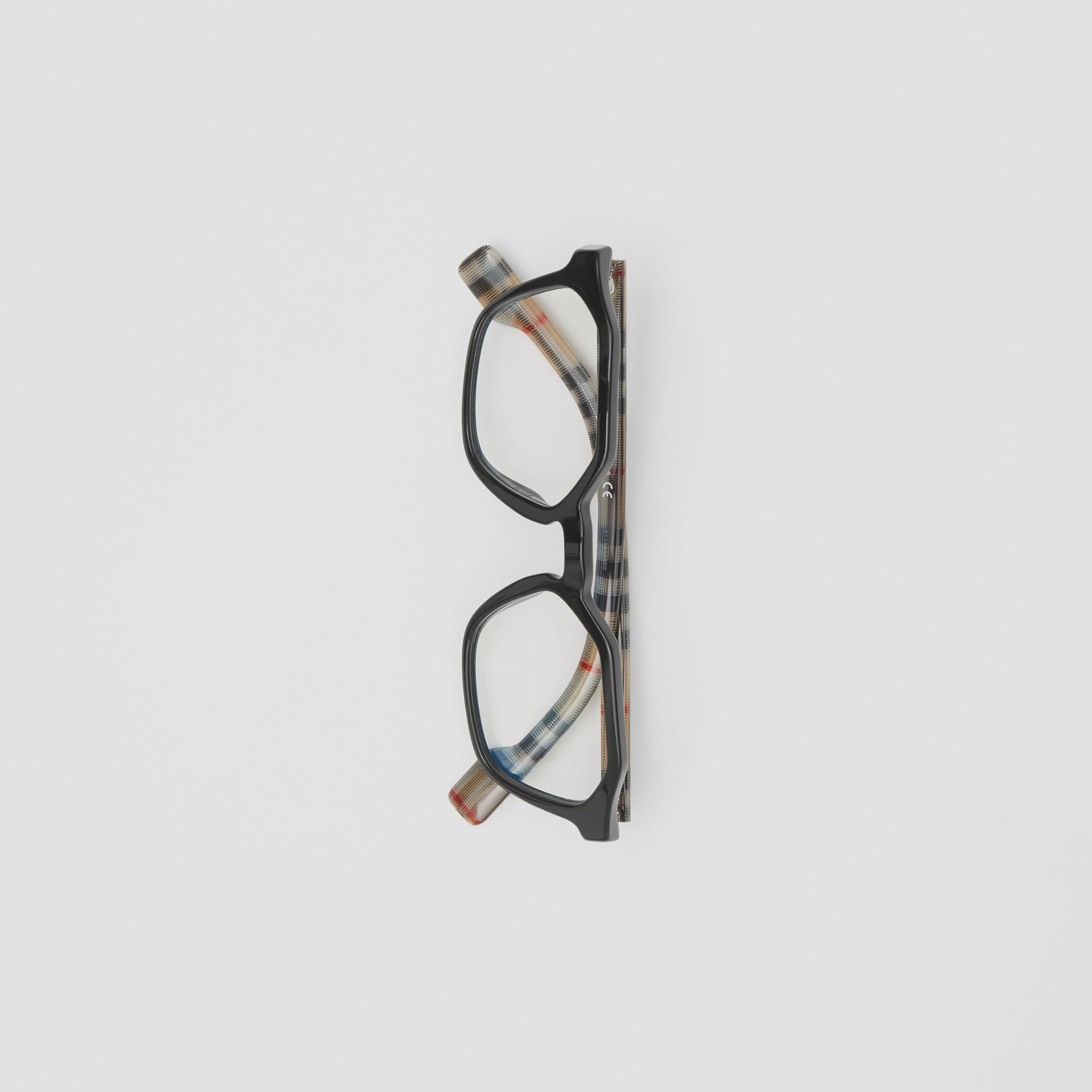 Vintage Check Detail Geometric Optical Frames in Black - Women | Burberry United Kingdom - gallery image 2