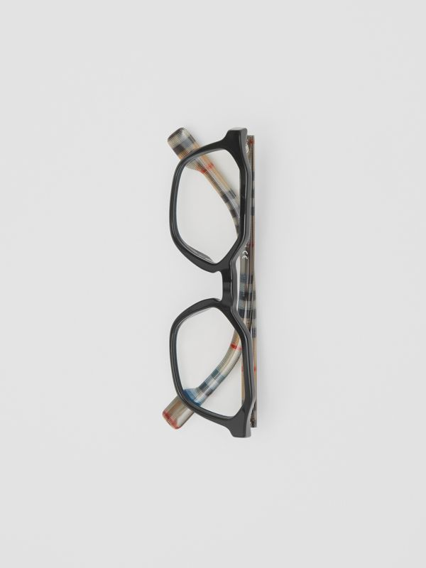 Vintage Check Detail Geometric Optical Frames in Black - Women | Burberry United Kingdom - cell image 2
