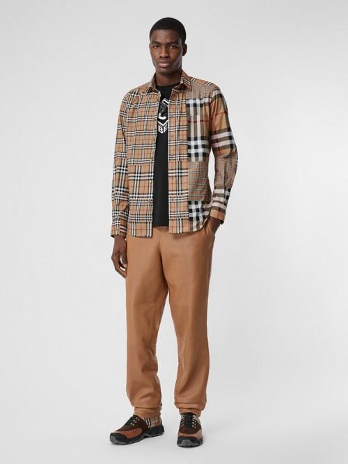 Burberry T-shirts Classic Fit Patchwork Check Cotton Shirt