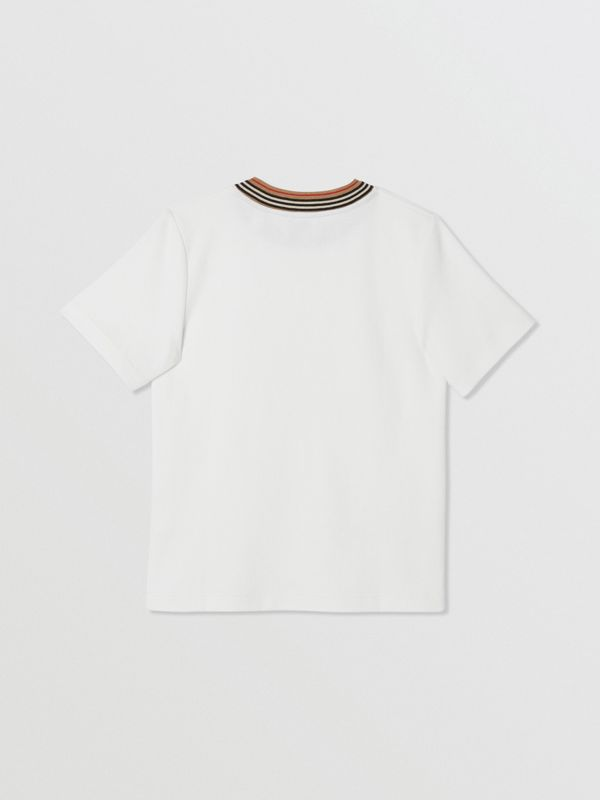 Contrast Logo Graphic Jersey Mesh T-shirt in White | Burberry - cell image 3