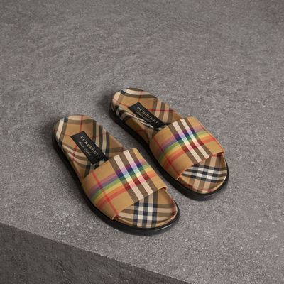 Ashmore Low-Top Rainbow Check Slide Sandals in Brown