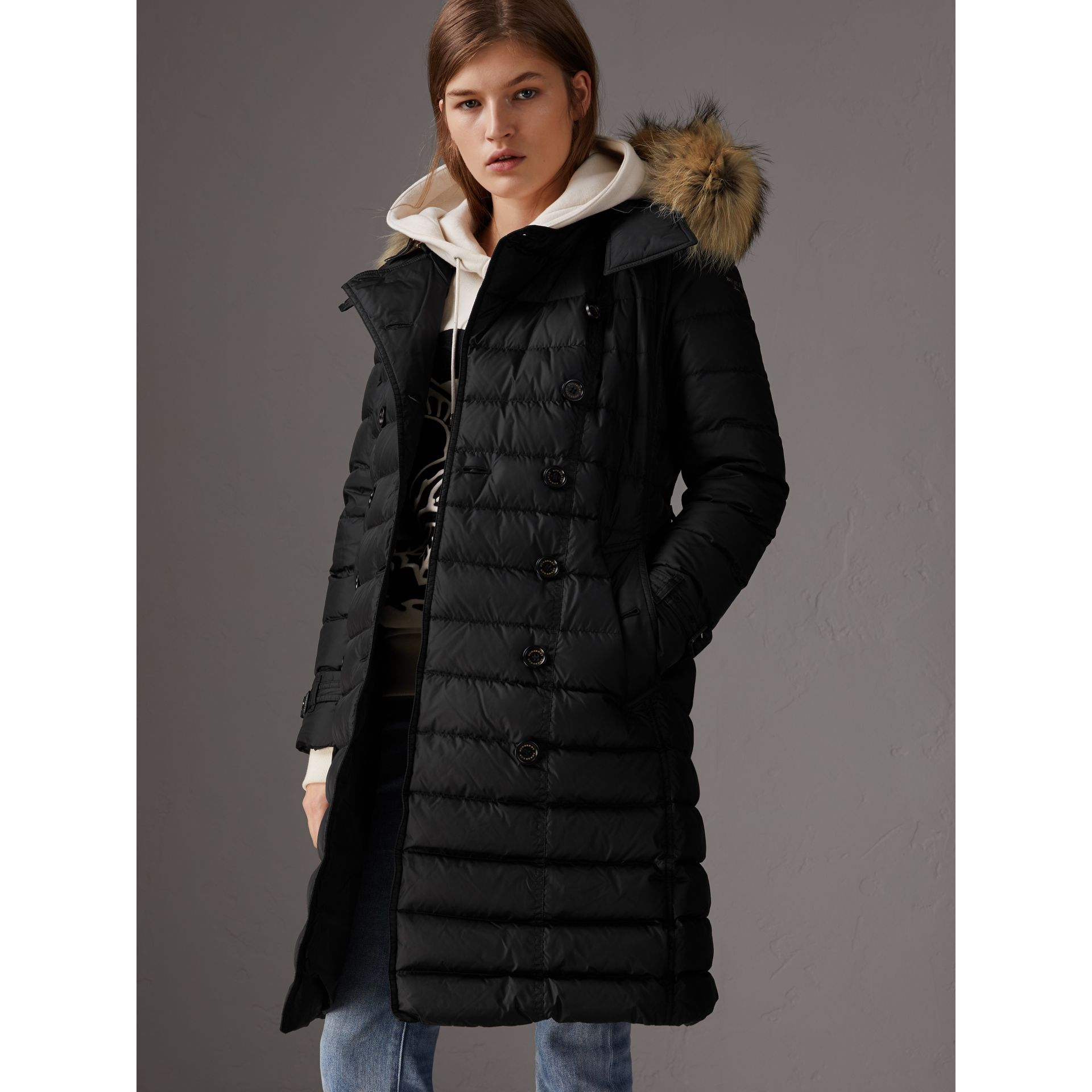 Detachable Hood Fur Trim Down-filled Puffer Coat in Black - Women | Burberry Australia - gallery image 5
