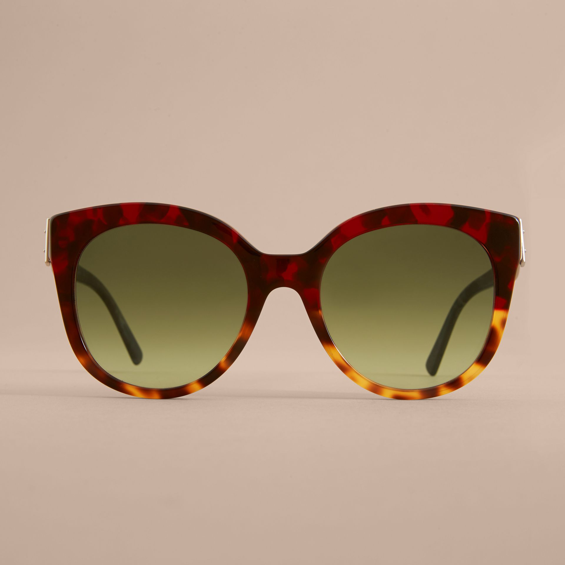 Buckle Detail Cat-eye Frame Sunglasses in Amber Yellow - Women | Burberry United Kingdom - gallery image 2