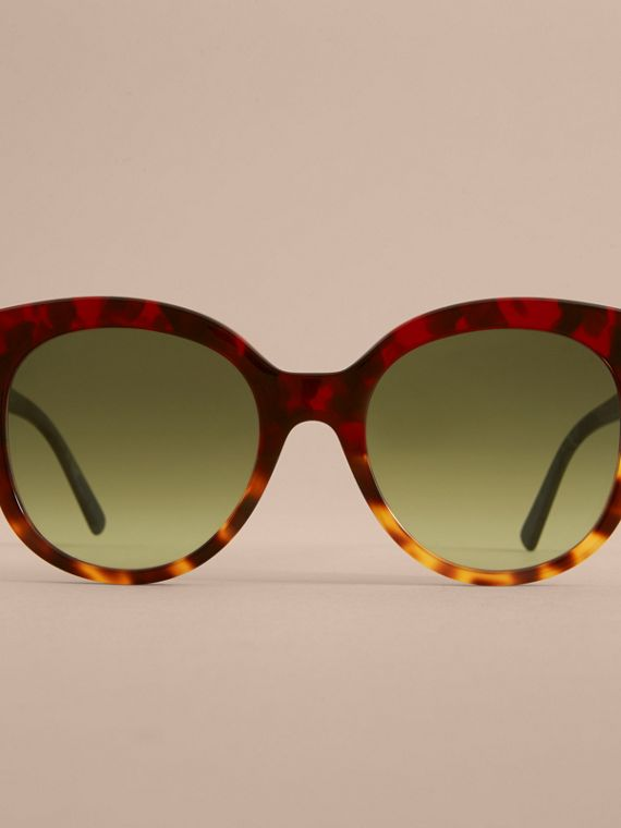 Buckle Detail Cat-eye Frame Sunglasses in Amber Yellow - Women | Burberry Australia - cell image 2