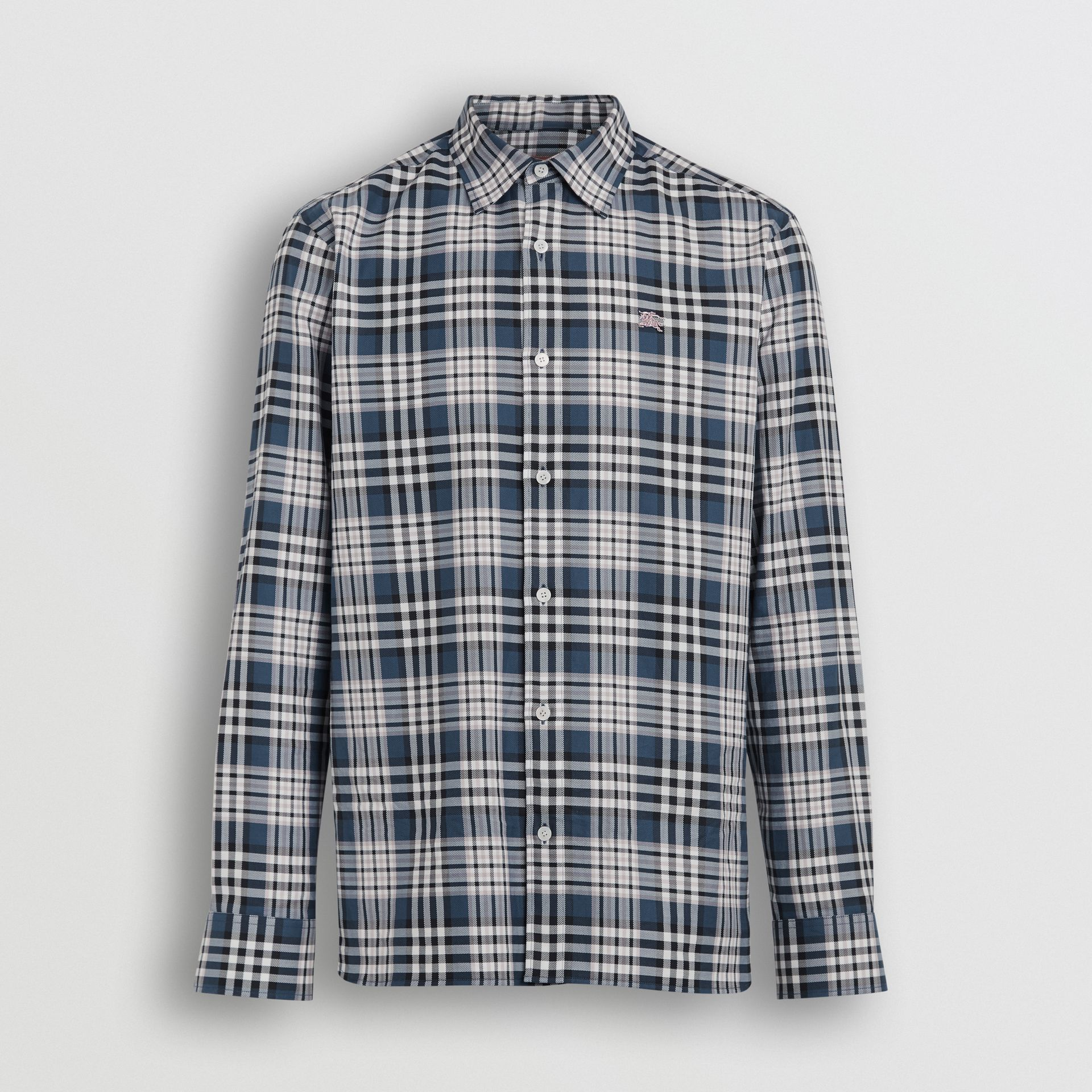 Check Cotton Shirt in Petrol Blue - Men | Burberry - gallery image 3