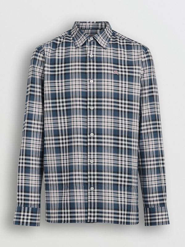 Check Cotton Shirt in Petrol Blue - Men | Burberry - cell image 3