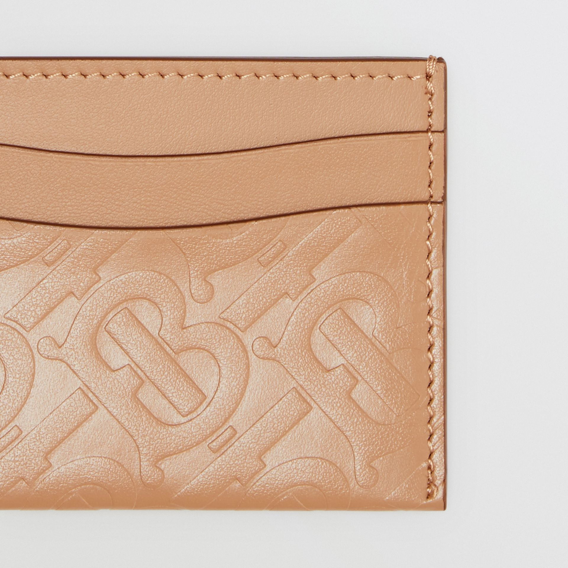 Monogram Leather Card Case in Light Camel - Women | Burberry - gallery image 1