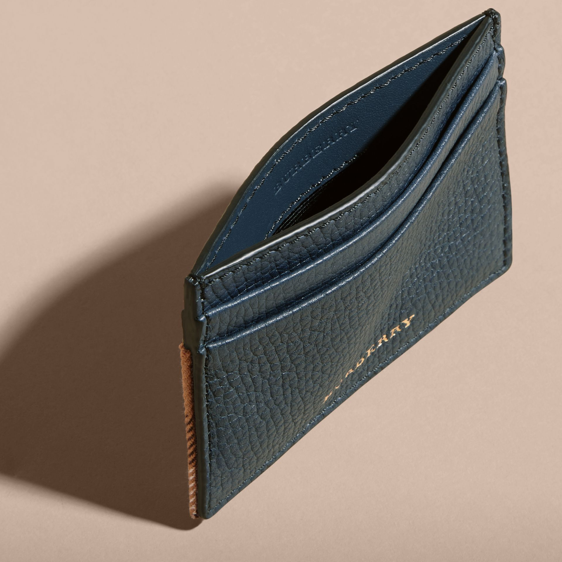 House Check and Grainy Leather Card Case in Storm Blue | Burberry Australia - gallery image 5