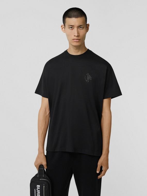 Crystal Monogram Motif Cotton Oversized T-shirt in Black