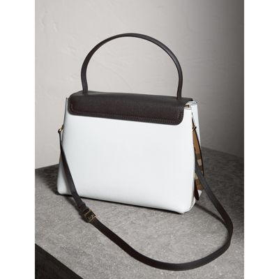 Small Two-tone leather and House Check tote - White Burberry SuRloX9b