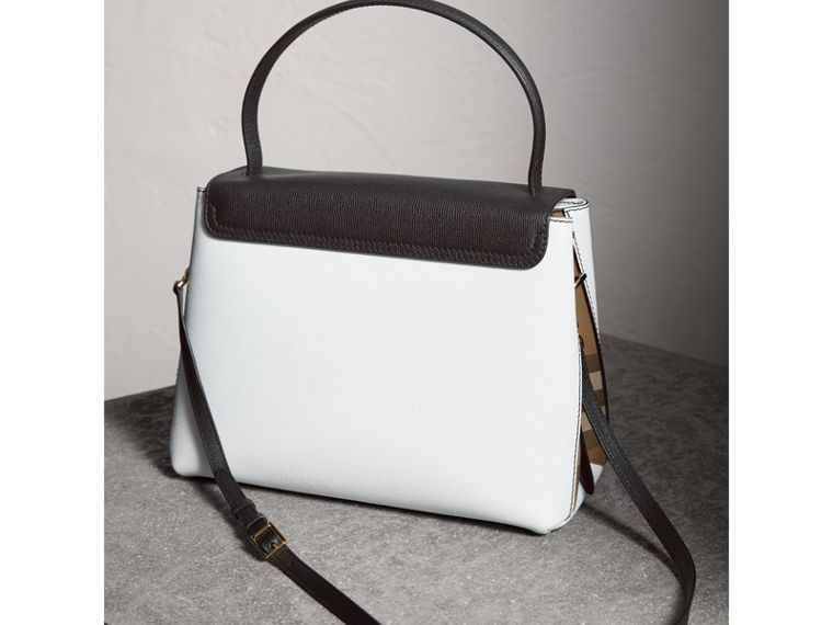 Medium Two-tone Leather and House Check Tote in Chalk White/black - Women | Burberry - cell image 4